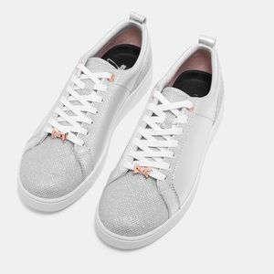 TED BAKER silver sparkle sneakers size 6